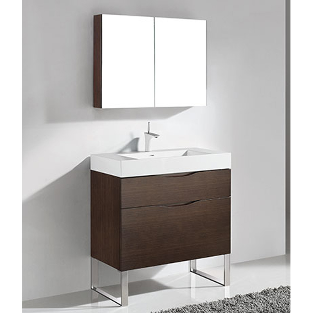 Madeli Milano 36 Bathroom Vanity For Integrated Basin Walnut Free Shipping Modern Bathroom