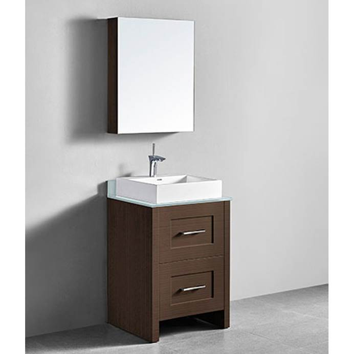 "Madeli Retro 24"" Bathroom Vanity for Glass Counter and Porcelain Basin - Walnut B700-24-001-WA-GLASS"