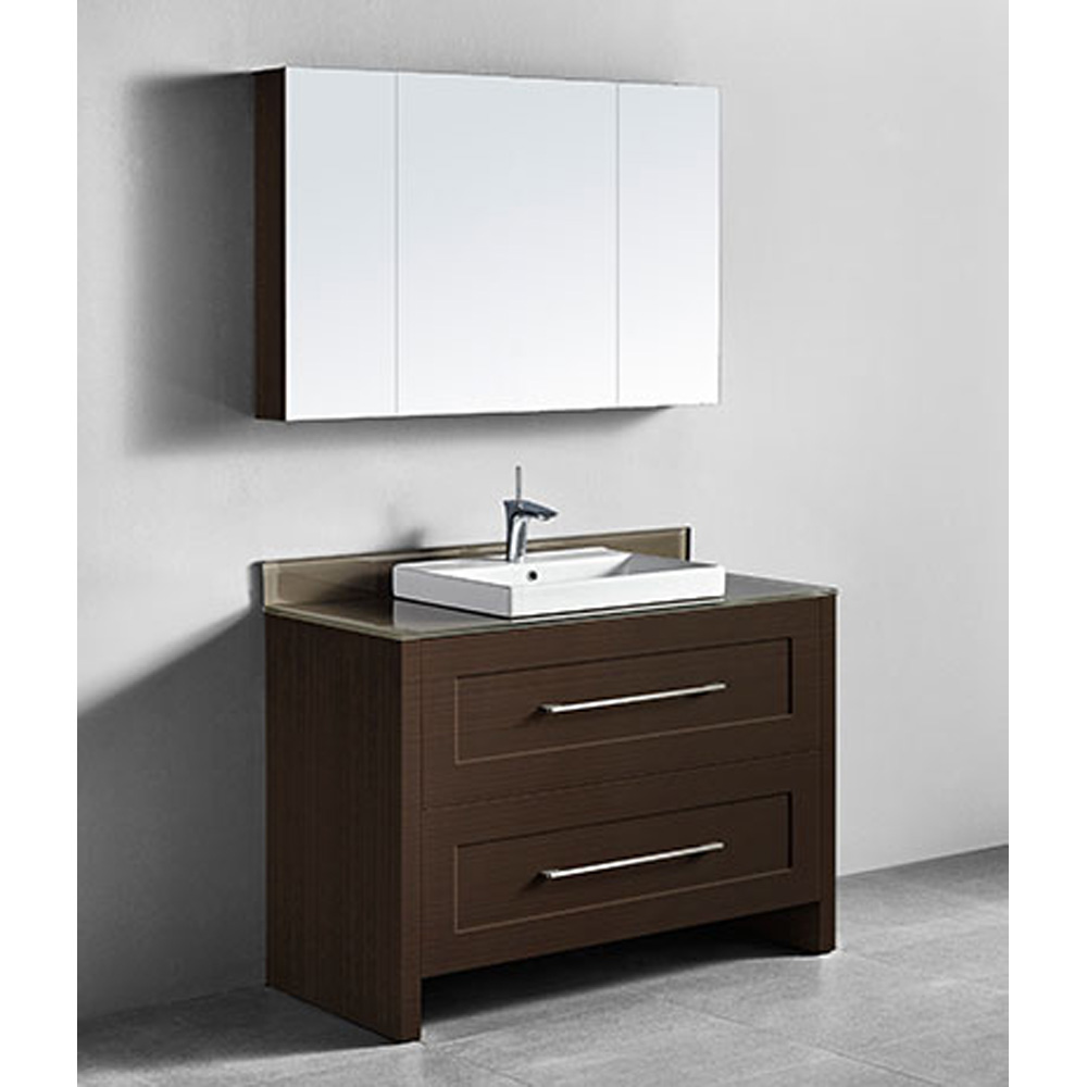Madeli Retro 48 Quot Single Bathroom Vanity For Glass Counter And Porcelain Basin Walnut Free