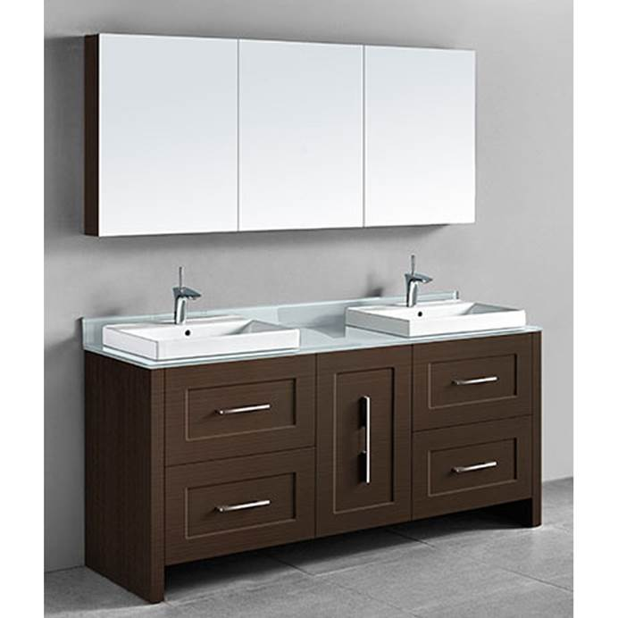 "Madeli Retro 72"" Double Bathroom Vanity for Glass Counter and Porcelain Basin - Walnut B700-72D-001-WA-GLASS"