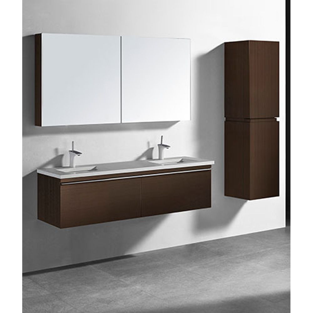 Madeli Venasca 60 Double Bathroom Vanity For Quartzstone Top Walnut Free Shipping Modern