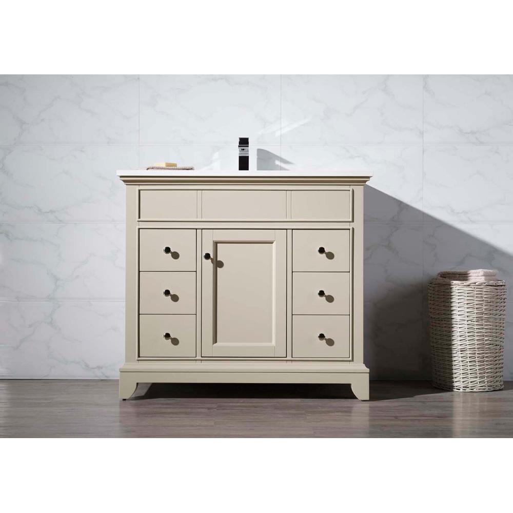 "Stufurhome Erin 37"" Single Sink Bathroom Vanity With White Quartz Top - Beige"
