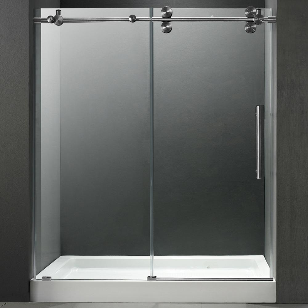 Vigo 60 Inch Frameless Shower Door 3 8 Quot Clear Stainless
