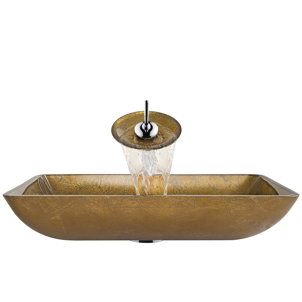 Vigo Rectangular Copper Glass Vessel Sink And Waterfall