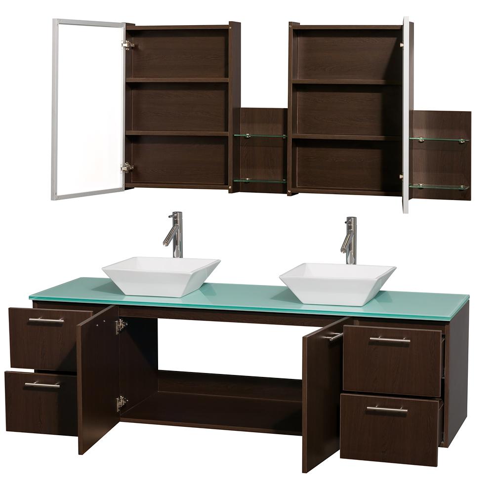 """Wall Bathroom Vanity: Amare 72"""" Wall-Mounted Double Bathroom Vanity Set With"""