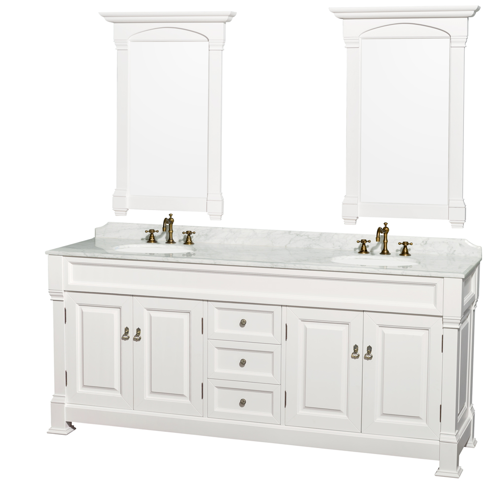 Traditional bathroom sink - Andover 80 Traditional Bathroom Double Vanity Set By Wyndham Collection White Free Shipping Modern Bathroom