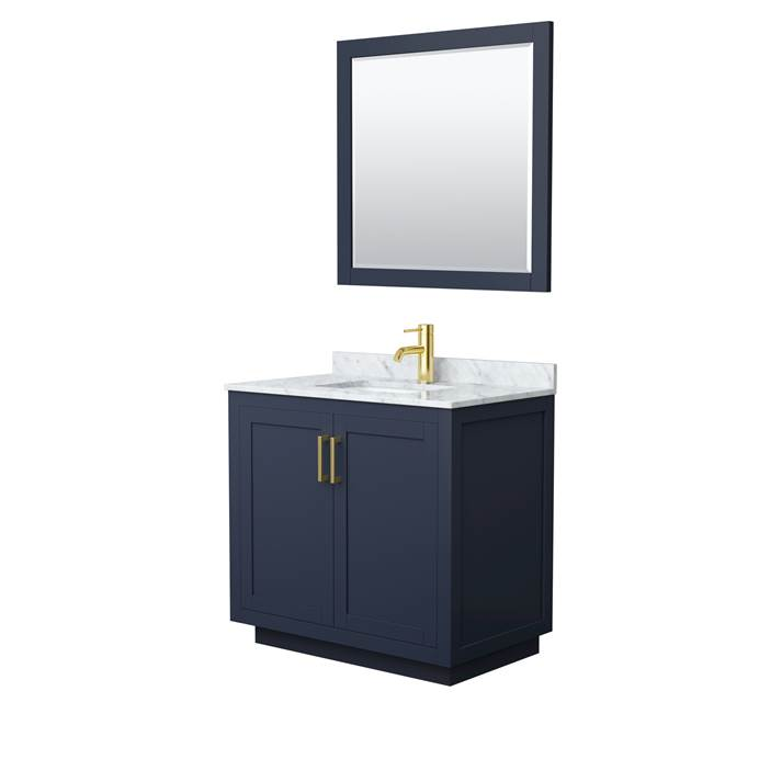 "Davia 36"" Single Vanity with Carrara Marble Counter - Dark Blue WC-2929-36-SGL-VAN-BLU"