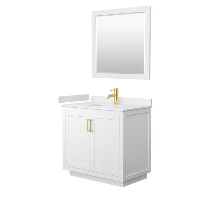 "Davia 36"" Single Vanity with Cultured Marble Counter - White WC-2929-36-SGL-VAN-WHT-"