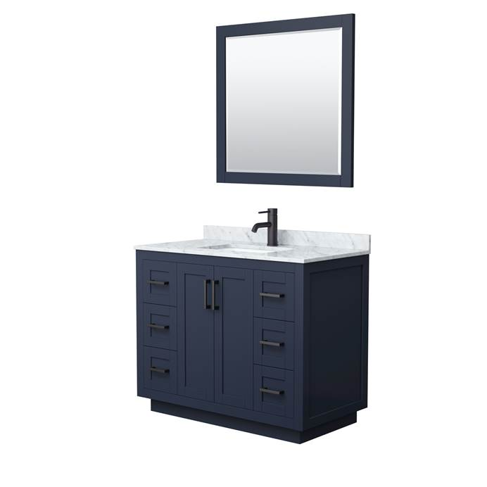 "Miranda 42"" Single Vanity with Carrara Marble Counter - Dark Blue WC-2929-42-SGL-VAN-BLU"