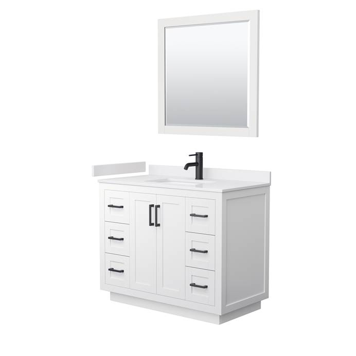"Miranda 42"" Single Vanity with Cultured Marble Counter - White WC-2929-42-SGL-VAN-WHT-"