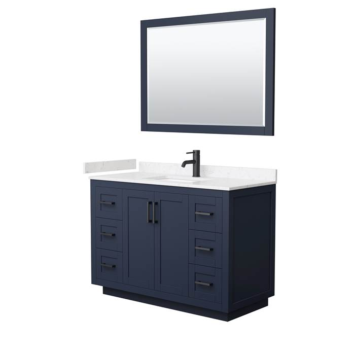 "Miranda 48"" Single Vanity with Cultured Marble Counter - Dark Blue WC-2929-48-SGL-VAN-BLU-"