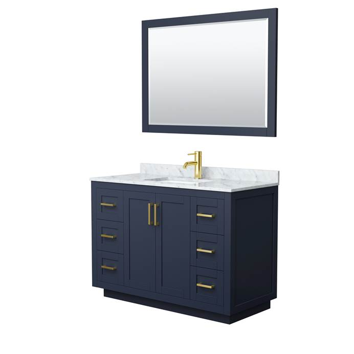 "Miranda 48"" Single Vanity with Carrara Marble Counter - Dark Blue WC-2929-48-SGL-VAN-BLU"