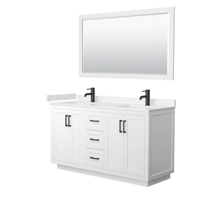 "Miranda 60"" Double Vanity with Cultured Marble Counter - White WC-2929-60-DBL-VAN-WHT-"