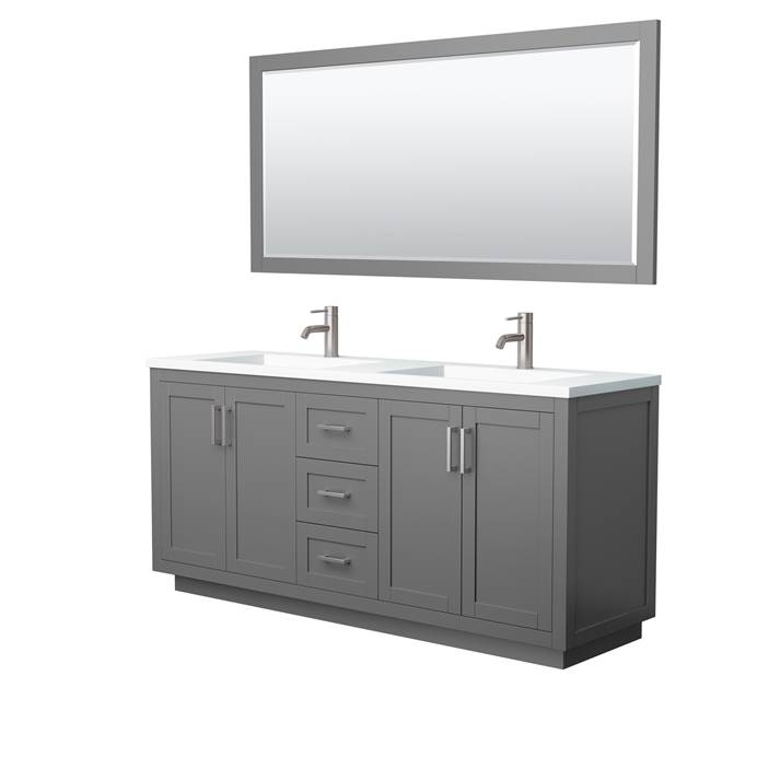 "Maroni 72"" Double Vanity with Integrated Sink - Dark Gray WC-2929-72-DBL-VAN-DKG-TEST3"