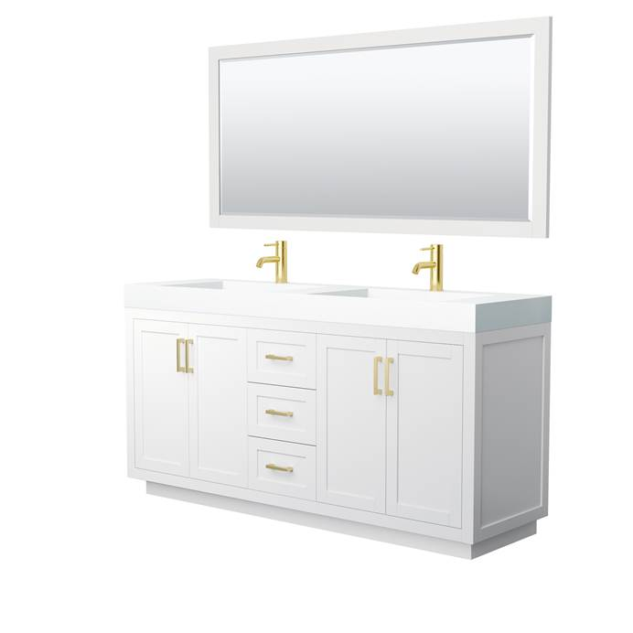 "Miranda 72"" Double Vanity with Integrated Sink - White WC-2929-72-DBL-VAN-WHT_"
