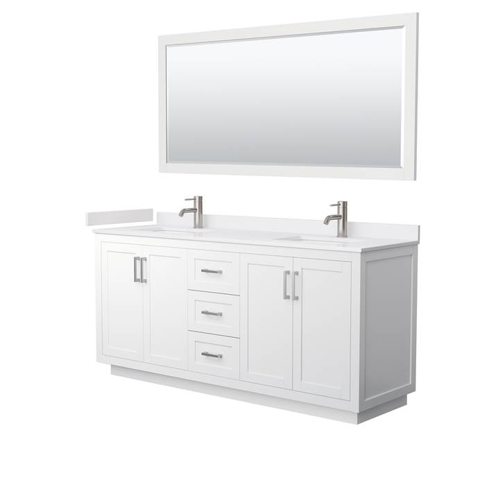 "Miranda 72"" Double Vanity with Cultured Marble Counter - White WC-2929-72-DBL-VAN-WHT-"