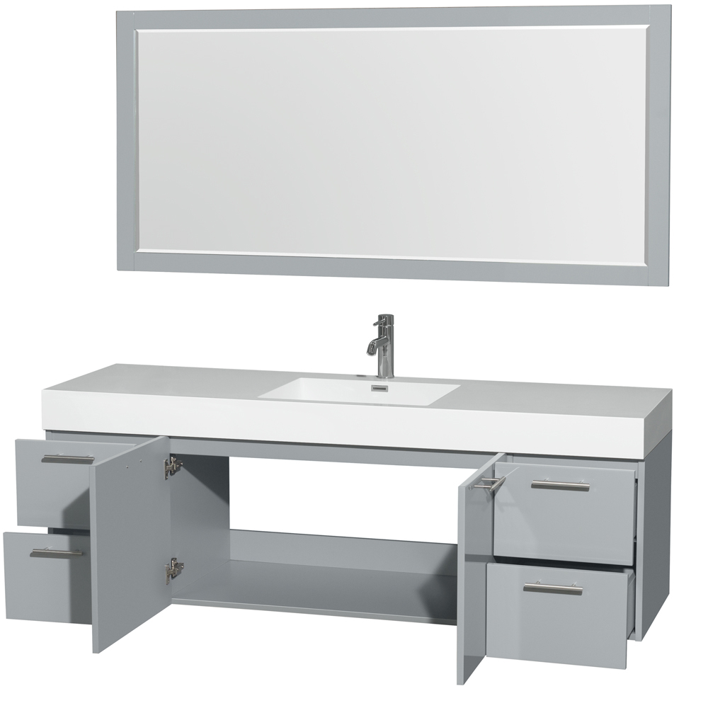 amare 72 wall mounted single bathroom vanity set with integrated sink by wyndham collection. Black Bedroom Furniture Sets. Home Design Ideas