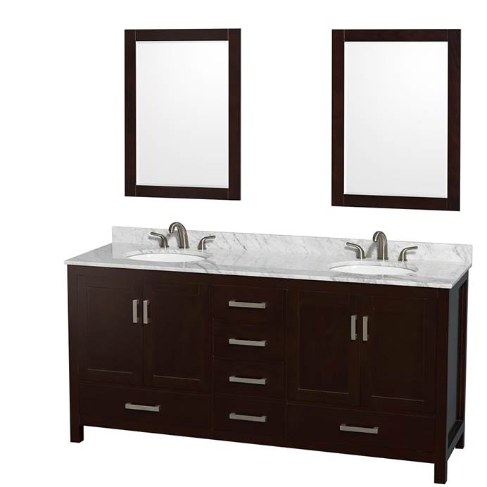 "Sheffield 72"" Double Bathroom Vanity by Wyndham Collection - Espresso WC-1414-72-DBL-VAN-ESP"