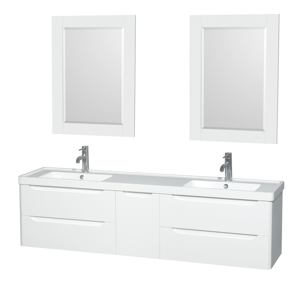Murano 72 Double Bathroom Vanity Set By Wyndham Collection In Glossy White With Acrylic Resin Countertop Integrated Sinks And 24 Mirrors