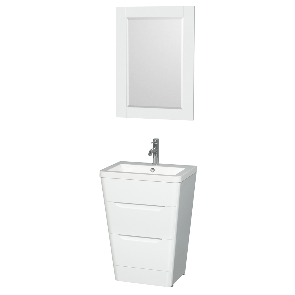 Caprice 24 bathroom pedestal vanity set with integrated sink by wyndham collection glossy for Bathroom vanity with integrated sink