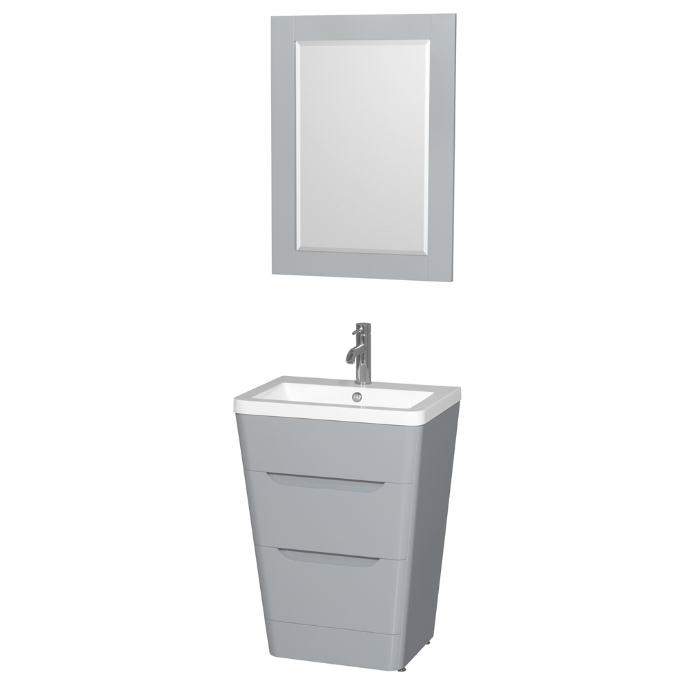 """Caprice 24"""" Bathroom Pedestal Vanity Set with Integrated Sink by Wyndham Collection, Gray WC-7778-24-VAN-GRY by Wyndham Collection®"""