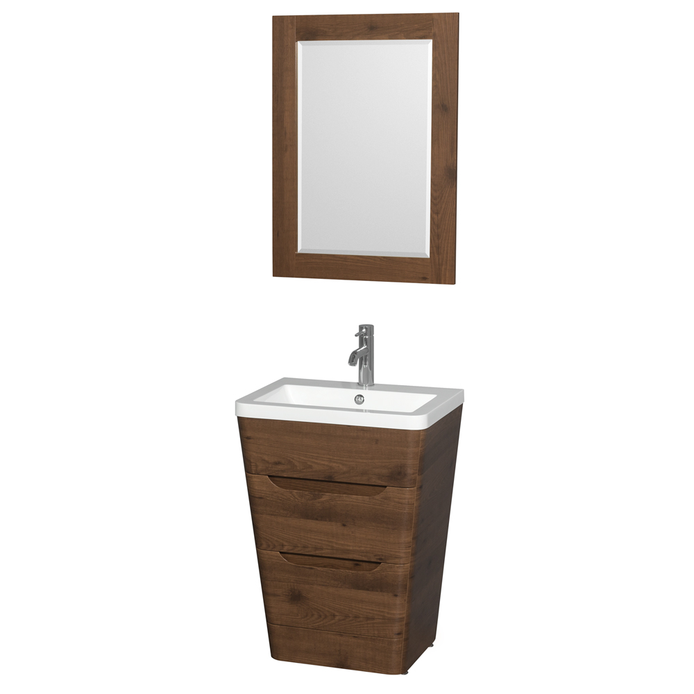 "Bathroom Vanity Pedestal: Caprice 24"" Bathroom Pedestal Vanity Set With Integrated"