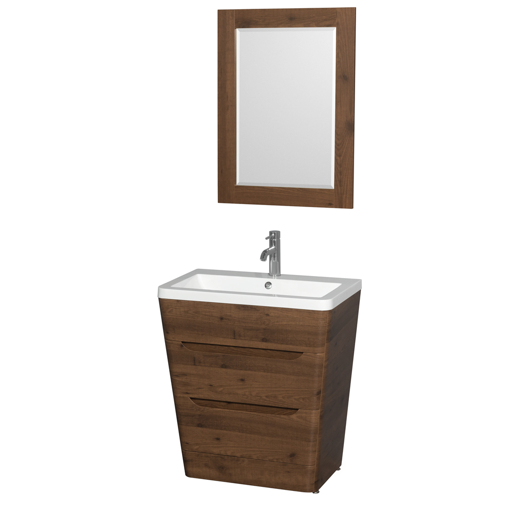 caprice 30u0026quot bathroom pedestal vanity set with integrated sink by wyndham collection walnut wc