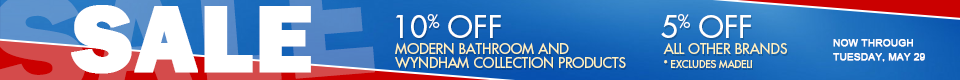 Up to 10% off select bathroom vanities, bathtubs, and sinks